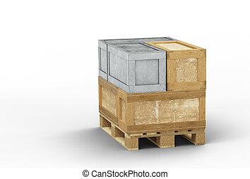 transport, palette, métal, boîtes, directement, bois, empilé