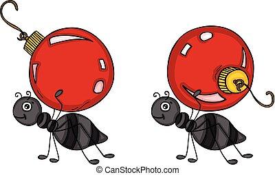 transport, piłki, boże narodzenie, mrówki, czerwony