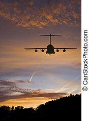 Transport Plane at Sunset