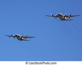 Transport Plane In Flight