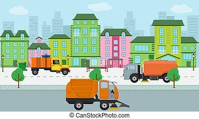 transport, public, voitures, rue, stop., balayeur, vecteur, laver, trottoir, enlever, bâtiments, garbage., illustration., maisons, machines, ville, nettoyage, urbain, propre, camion