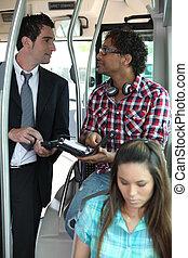transport, publik, folk