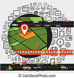 transport, résumé, éléments, conception, scheme.