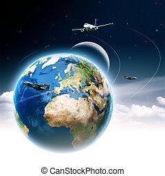 transport, résumé, global, arrière-plans, conception, ton