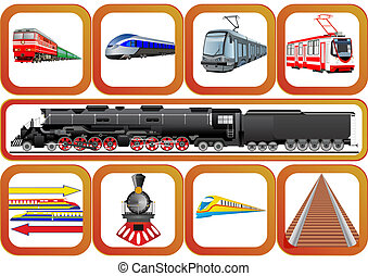 Transport railways - Badges with vehicles traveling on the...