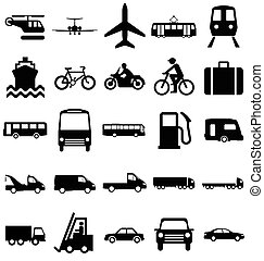 Transport Related Graphics - Black and white silhouette ...