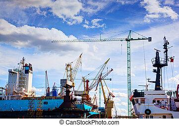 transport., repair., shipyard., sous, industriel, bateau, construction
