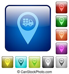 Transport service GPS map location color square buttons