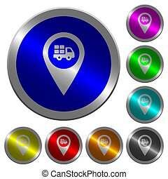 Transport service GPS map location luminous coin-like round color buttons
