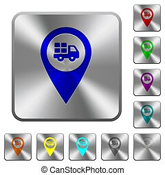 Transport service GPS map location rounded square steel buttons