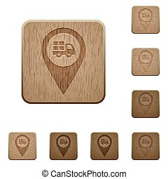 Transport service GPS map location wooden buttons
