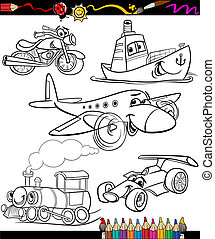 transport set for coloring book - Coloring Book or Page...