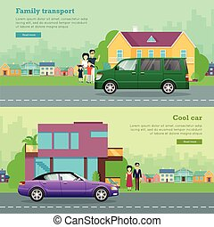 Transport. Set of Icons. Cool Car. Family Auto