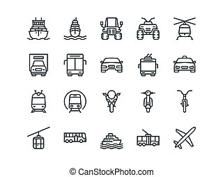 Transport. Set of outline vector icons