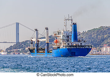 Transport ship sails Bosphorus