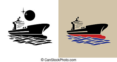 transport ship symbol - stylized illustration of a large...