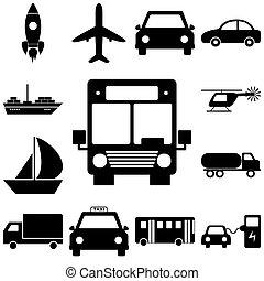 Transport sign set. Flat style icons illuatration