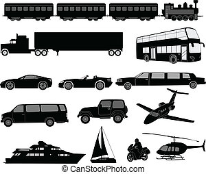 transport, silhouettes