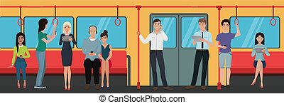 transport., smartphone, gens, téléphones, train, métro, utilisation, public