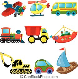transport., spotprent, set, vector