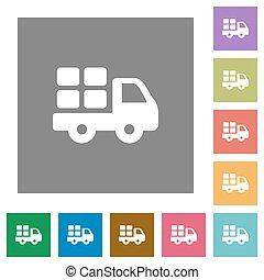 Transport square flat icons