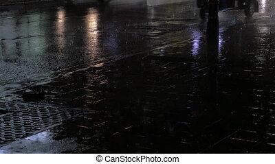 transport, straße, an, regnerische nacht
