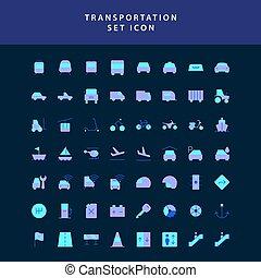 transport, style, icône, mettez stylique, plat