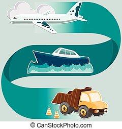 transport, système, concept, -, avion, bateau, camion