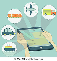 transport, tablette, choix