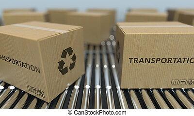 transport, texte, conveyor., mouvement, rendre, boîtes, carton, rouleau, 3d