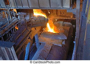 transport the molten metal