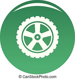 Transport tire icon vector green