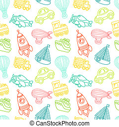 Transport toy seamless pattern - Toy transport outline...