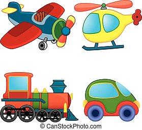 Transport toys.