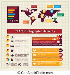 Transport traffic infographics elements