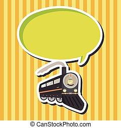 transport, train, thème, éléments, vecteur