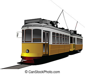 transport., tram., illus, vector, ciudad