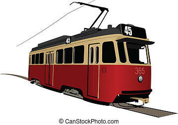 transport., tram., illus, vector, stad