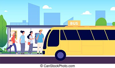 transport, transport commun, attente, gens, vecteur, ville, illustration, autobus, rue, hommes, women., stop., route urbaine, buses.