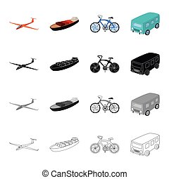 Transport, transportation, machinery and other web icon in cartoon style. Air, land, sea, icons in set collection.