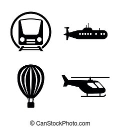 Transport, Transportation. Simple Related Vector Icons