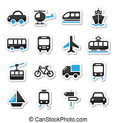 Transport, travel vector icons set - Black and blue labels...