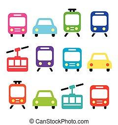 Transport, travel vector icons set