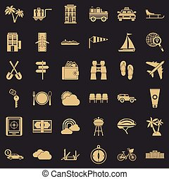Transport trip icons set, simple style