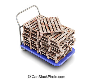 Transport trolley with pallets isolated on white background....