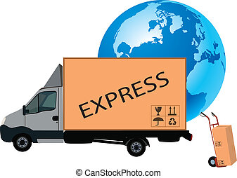 transport truck - van with earth background