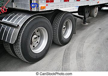 Transport truck tires taken closeup