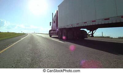 Transport truck - Vehicle shot of semi trailer freight truck...