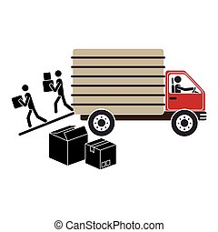 transport truck with vagon and pictograms download boxes...