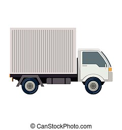 transport truck with vagon and wheels vector illustration